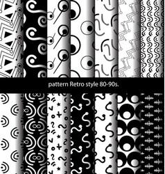 set pattern retro style 80-90s vector image