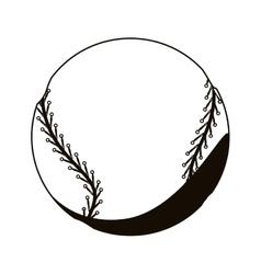 Silhouette monochrome with baseball ball vector