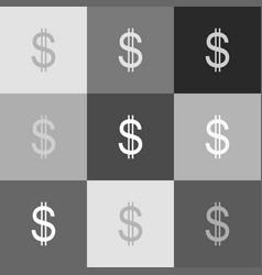 united states dollar sign grayscale vector image vector image