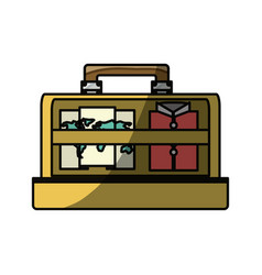 Vintage travel suitcase vector