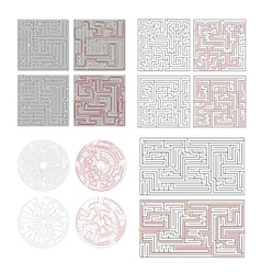 Set of different labyrinths with solutions on vector image