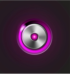 Glossy media player metal button vector