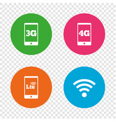 mobile telecommunications icons 3g 4g and lte vector image