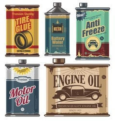 Vintage set of car and transportation products vector image