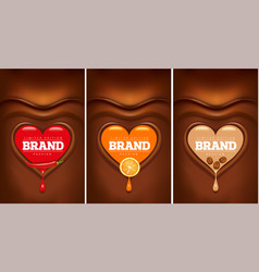 Chocolate background with heart and chilli orange vector