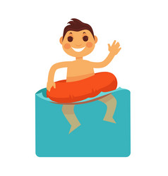 Cheerful boy in blue water with life buoy vector