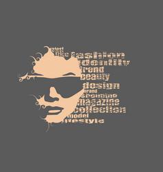 Silhouette of a female head fashion keywords vector