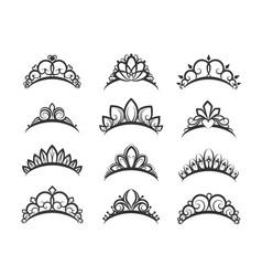 beautiful queen tiaras set vector image