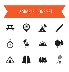 Set of 12 editable camping icons includes symbols vector
