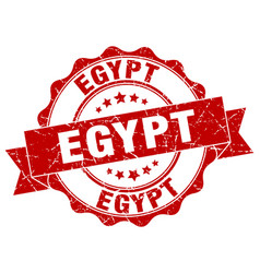Egypt round ribbon seal vector