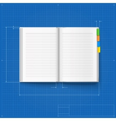 Opened notebook stylized drawing vector