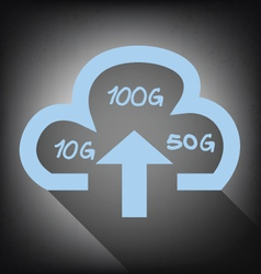Cloud with upload arrow icon on grunge background vector
