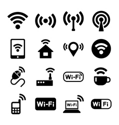 Wireless technology wi-fi web icons set vector