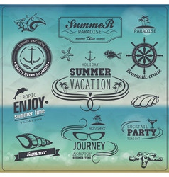 Set of vintage summer typography design with label vector