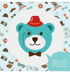 Hipster bear head card vector