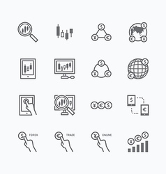 Forex flat icons set of business finance online vector