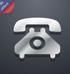 Retro telephone handset icon symbol 3d style vector
