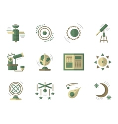 Flat simple icons for astronomy vector