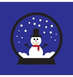 Flat icon on blue background snowman snow globe vector