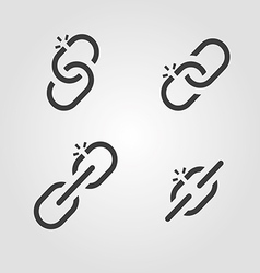 Broken chain link icons vector
