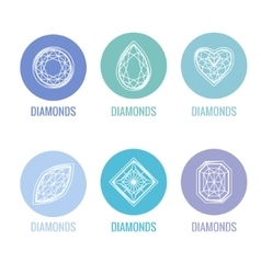 Stylized icons of diamonds blue and white colors vector