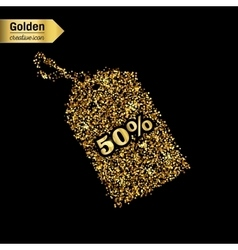 Gold glitter icon of tag discounted vector