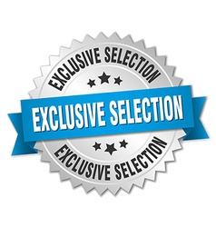 Exclusive selection 3d silver badge with blue vector