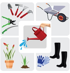 Gardening colorful icons set vector