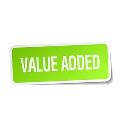 Value added green square sticker on white vector