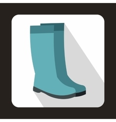 Rubber boots icon in flat style vector