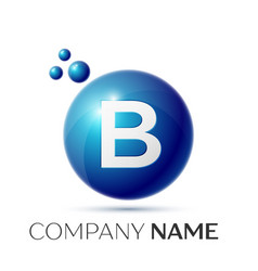 B letter splash logo blue dots and circle bubble vector