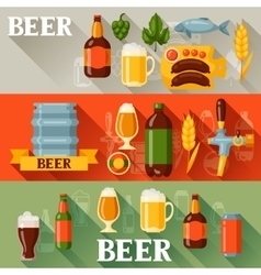 Banners design with beer icons and objects vector image vector image