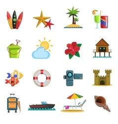Beach icons flat vector