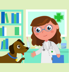 cartoon vet office with dog vector image vector image