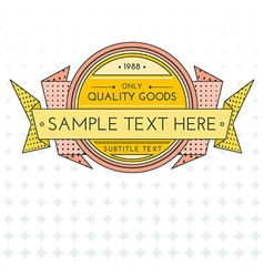 colored outline retro banner on gradient vector image vector image