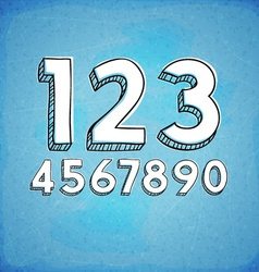 Doodle Style Hand Drawn Digits vector image vector image