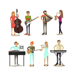 flat icons set of musician characters vector image vector image