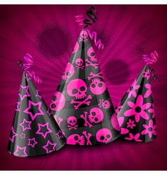 Goth party hats on pink vector image