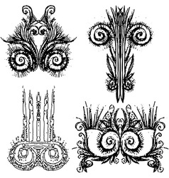 Grunge ornament design set vector