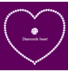 Heart frame made of diamonds vector image