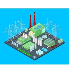 Isometric nuclear power station with pipes vector