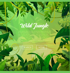 Jungle banner tropical leaves background vector