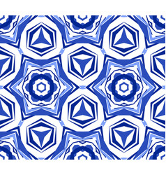 Kaleidoscope white blue star flower vector