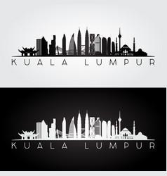 kuala lumpur skyline and landmarks silhouette vector image