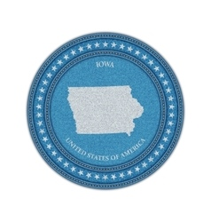 Label with map of iowa Denim style vector image vector image