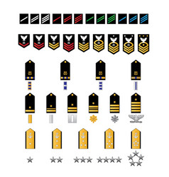 Naval style military ranks vector