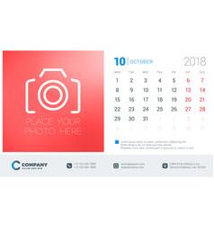 october 2018 desk calendar design template with vector image