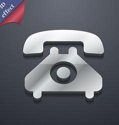 Retro telephone handset icon symbol 3d style vector