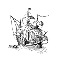 sailing ship with boat vector image vector image