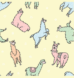 Seamless pattern with lama dream vector